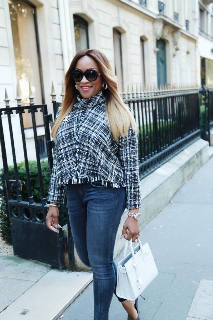 3229aa15b5 Top Zara // Skinny Jeans Similar // Shoes Farfetch // Bag Celine // Brooch  Chanel