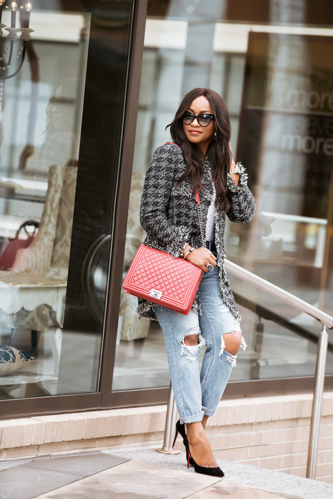 Chanel Inspired Tweed Jacket And Destroyed Jeans Style Selfie